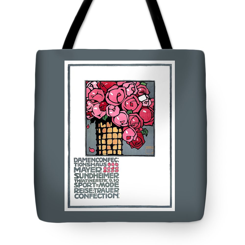 Ludwig Hohlwein Tote Bag featuring the digital art 1909 Ludwig Hohlwein Mayer Sundheimer Advertising Poster by Retro Graphics
