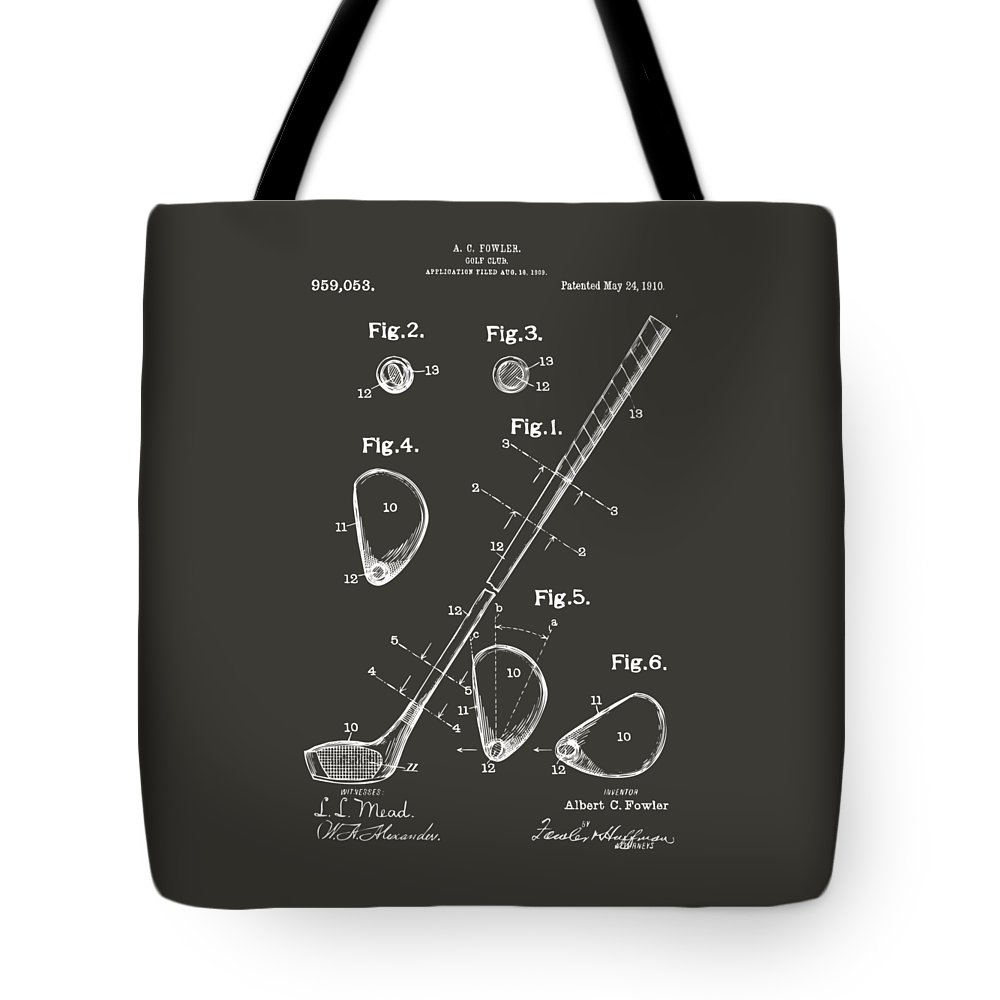 Golf Tote Bag featuring the digital art 1910 Golf Club Patent Artwork - Gray by Nikki Marie Smith