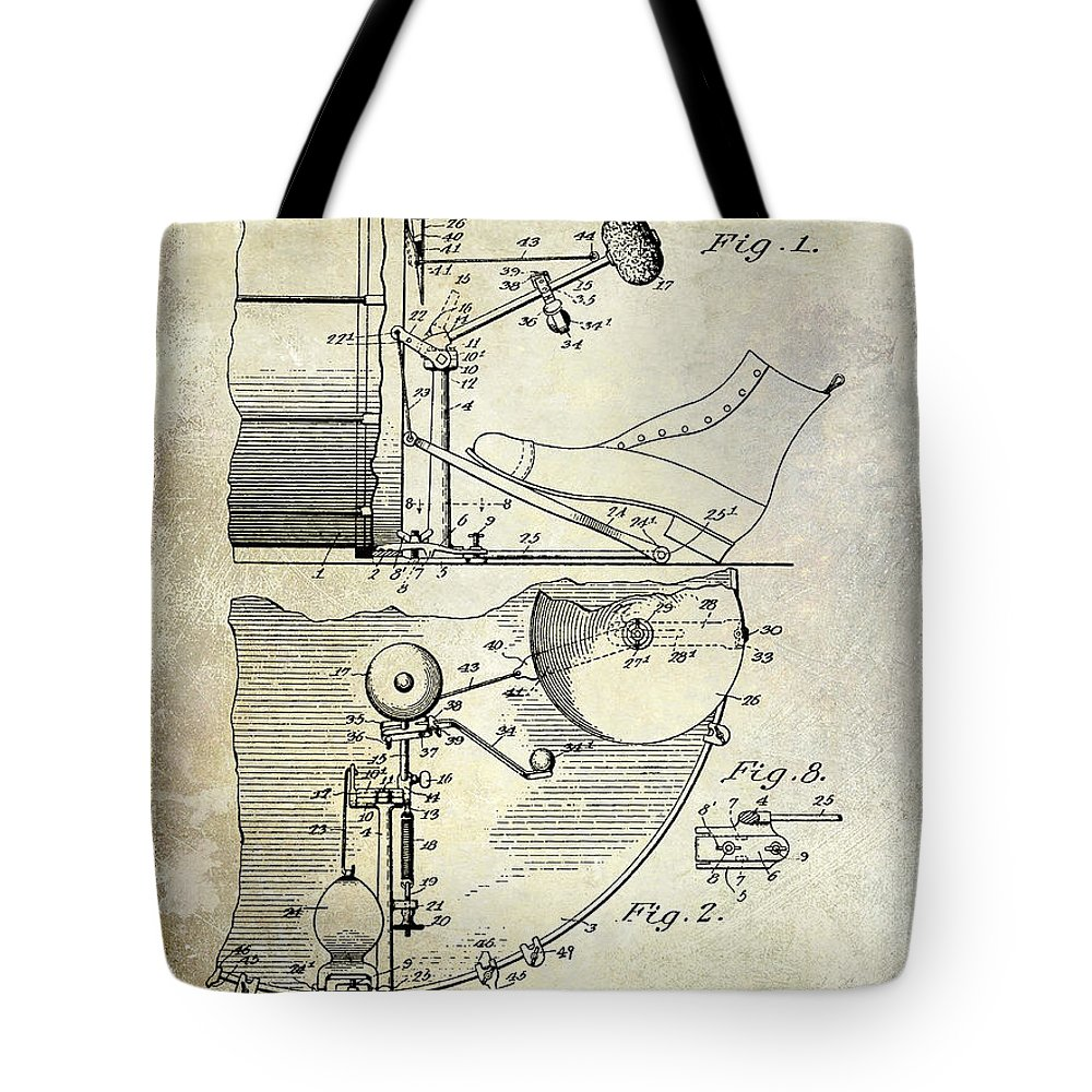 Drum Tote Bag featuring the photograph 1914 Drum And Cymbal Patent by Jon Neidert