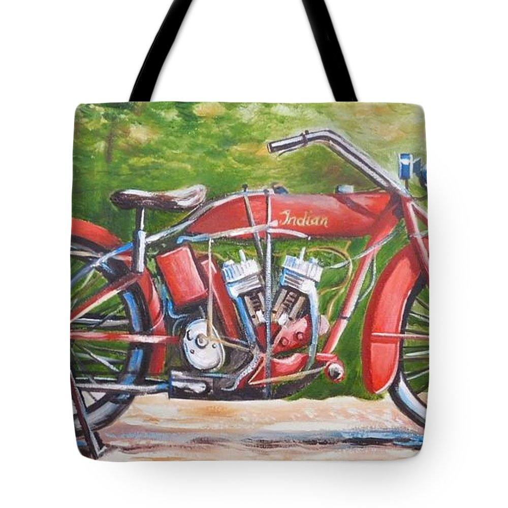 Indian Tote Bag featuring the painting 1916 Indian Powerplus by Scott White