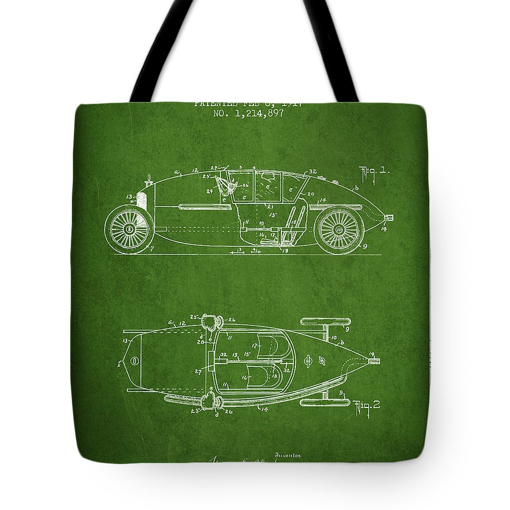 Racing Tote Bag featuring the digital art 1917 Racing Vehicle Patent - Green by Aged Pixel