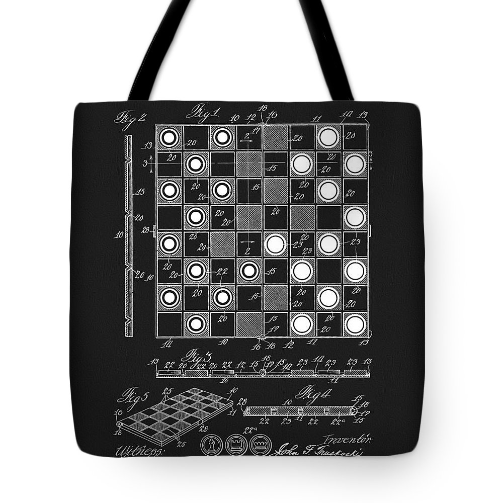 1923 Checkers And Chess Board Tote Bag featuring the drawing 1923 Checkers And Chess Board by Dan Sproul