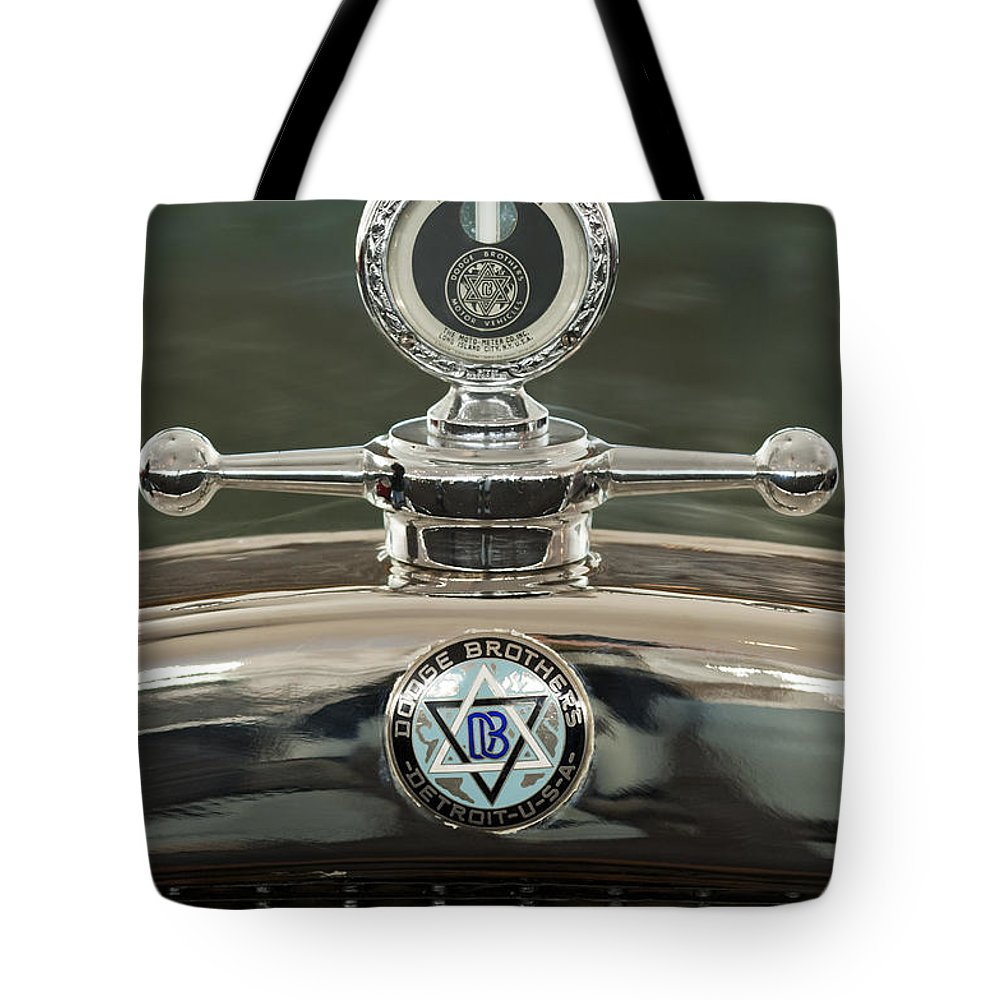 1926 Dodge Woody Wagon Tote Bag featuring the photograph 1926 Dodge Woody Wagon Hood Ornament by Jill Reger