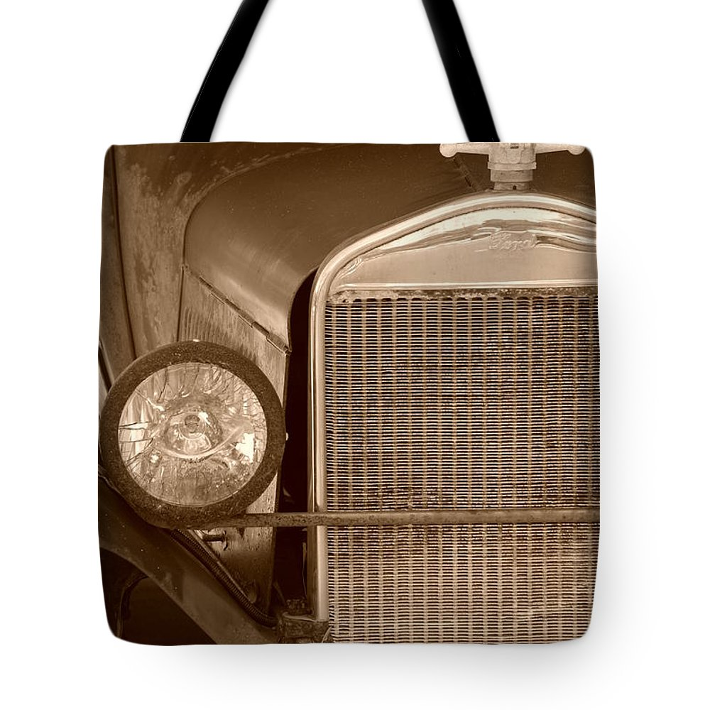 Sepia Tote Bag featuring the photograph 1926 Model T by Rob Hans