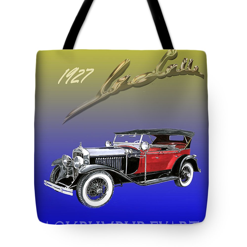 Posters Of Early Classic Luxury Cars From The Nineteen Twentys. Posters Of Classic Automotive Art. Car Posters By Jack Pumphrey Tote Bag featuring the painting 1927 Lasalle by Jack Pumphrey