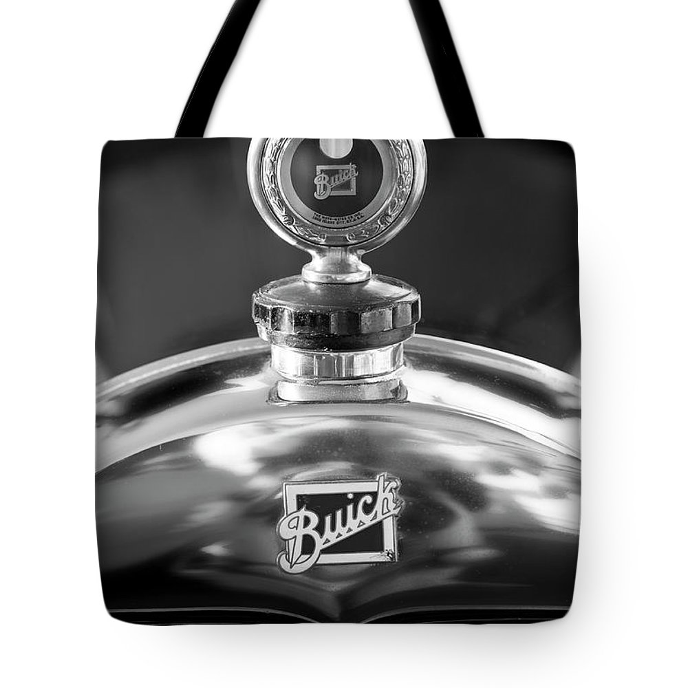 1928 Buick Tote Bag featuring the photograph 1928 Buick Hood Ornament 2 by Jill Reger