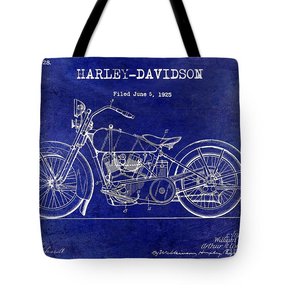 Harley Davidson Patent Drawing Tote Bag featuring the photograph 1928 Harley Davidson Patent Drawing Blue by Jon Neidert