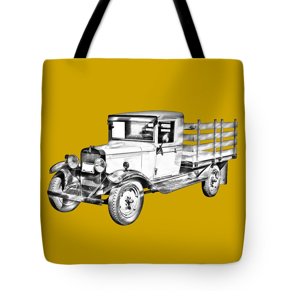 1929 Tote Bag featuring the photograph 1929 Chevy Truck 1 Ton Stake Body Drawing by Keith Webber Jr