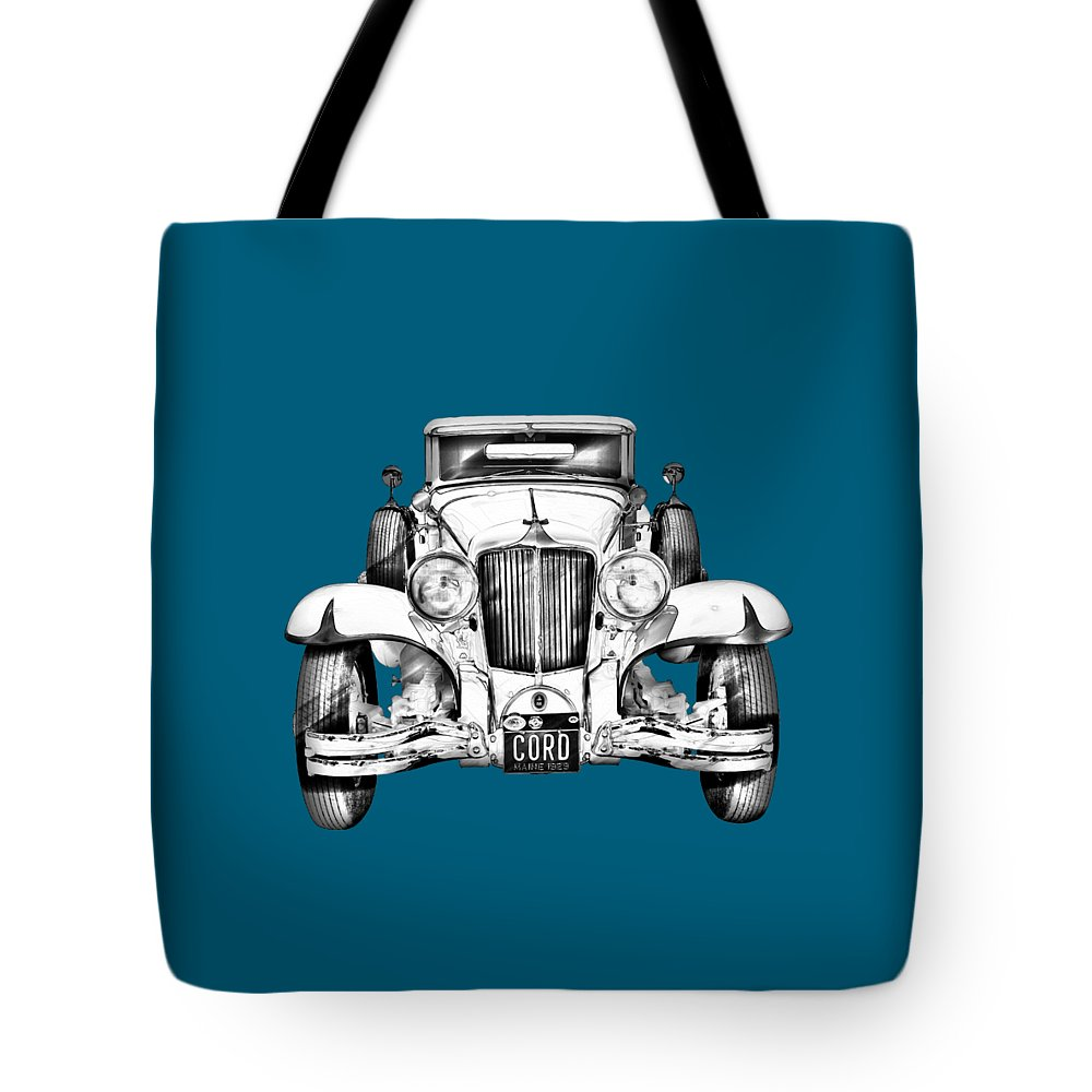 Vintage Tote Bag featuring the photograph 1929 Cord 6-29 Cabriolet Antique Car Illustration by Keith Webber Jr