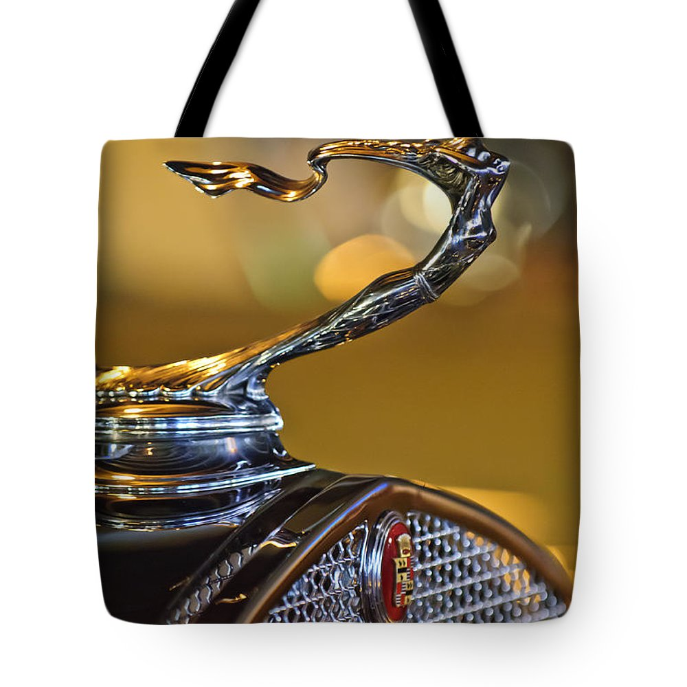1930 Cadillac V-16 Roadster Tote Bag featuring the photograph 1930 Cadillac Roadster Hood Ornament by Jill Reger