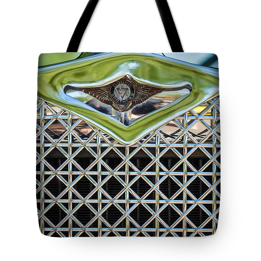 1930 Dodge Grille Emblem Tote Bag featuring the photograph 1930 Db Dodge Brothers Hood Ornament And Grille by Jill Reger