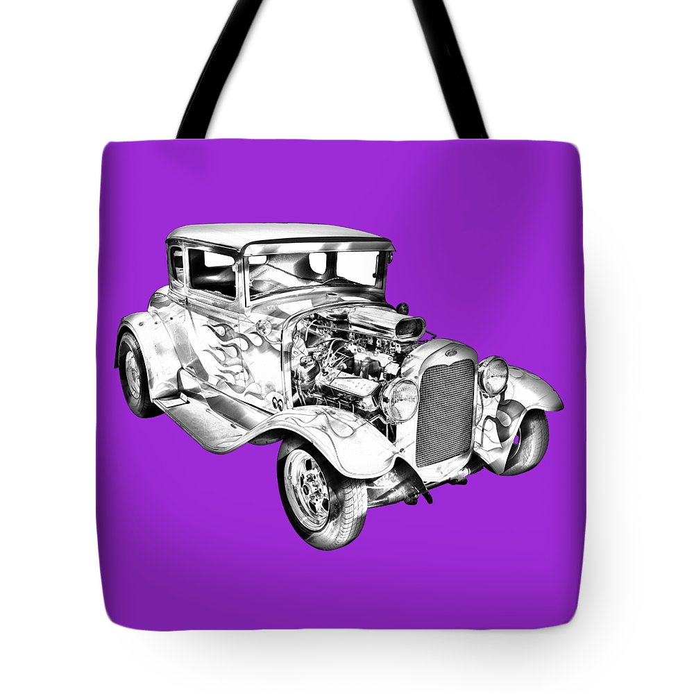 Automobile Tote Bag featuring the photograph 1930 Model A Custom Hot Rod Illustration by Keith Webber Jr