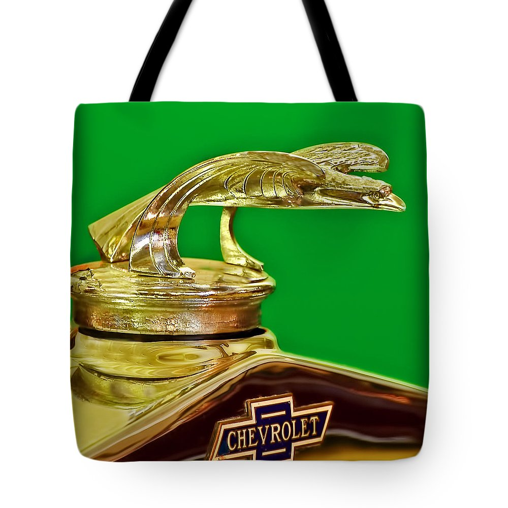 1932 Chevrolet Tote Bag featuring the photograph 1932 Chevrolet Eagle Hood Ornament by Ginger Wakem