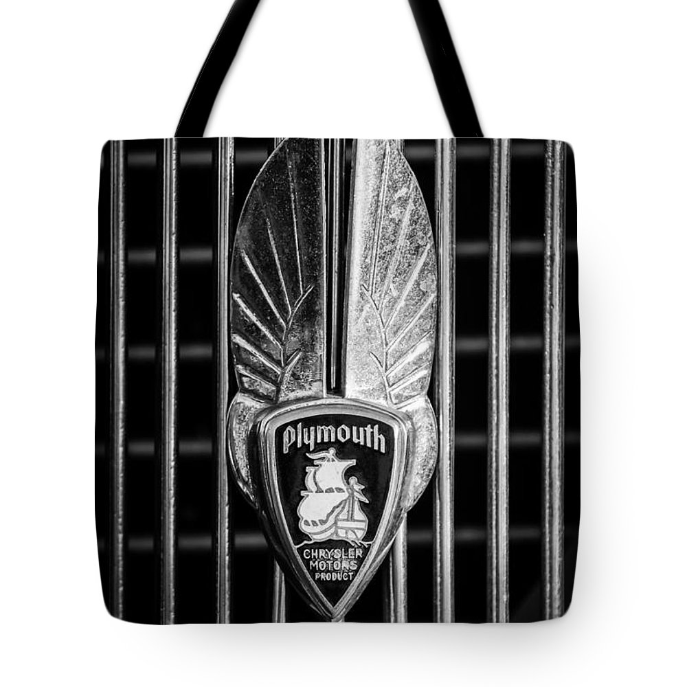 1934 Plymouth Tote Bag featuring the photograph 1934 Plymouth Emblem 2 by Jill Reger