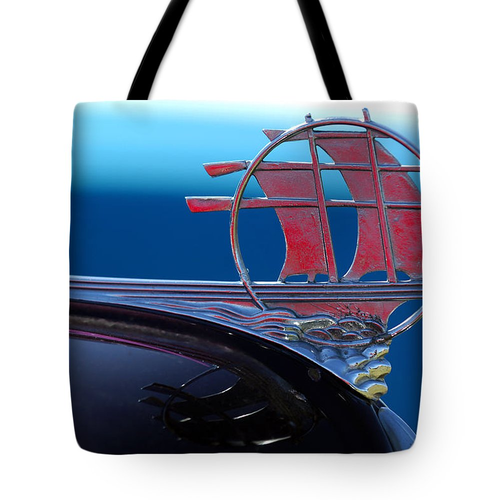 Transportation Tote Bag featuring the photograph 1934 Plymouth Hood Ornament by Jill Reger