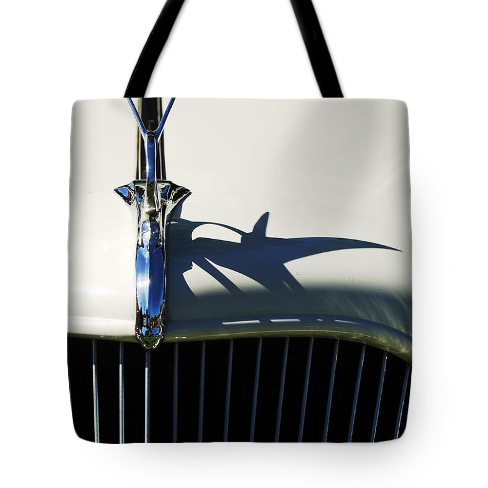 Car Tote Bag featuring the photograph 1934 Terraplane Coupe Hood Ornament by Jill Reger