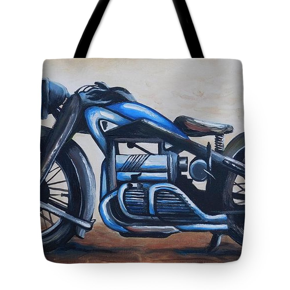 Zundapp Tote Bag featuring the painting 1934 Zundapp Motorcycle by Scott White