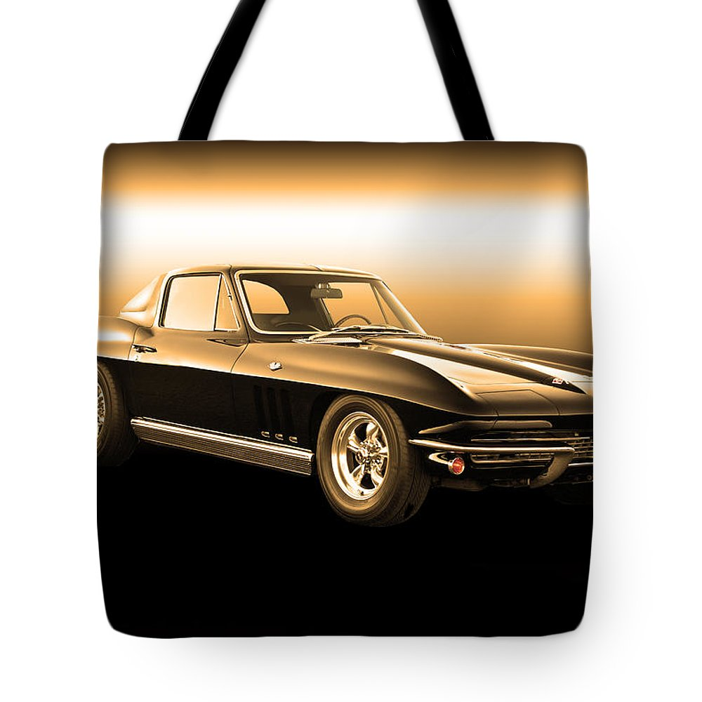 Auto Tote Bag featuring the photograph 1965 Corvette Stingray by Dave Koontz