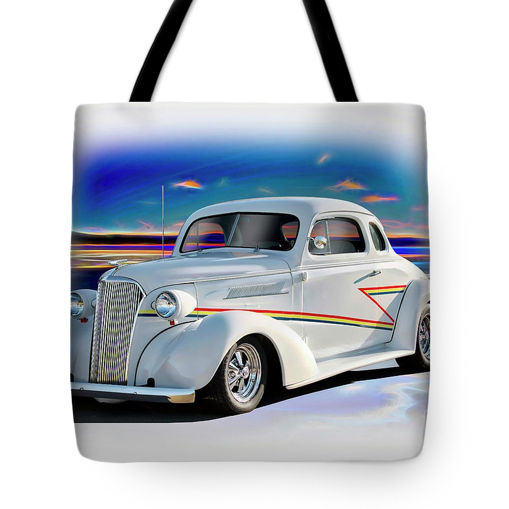 Auto Tote Bag featuring the photograph 1937 Chevrolet Coupe 'accent Graphics' by Dave Koontz