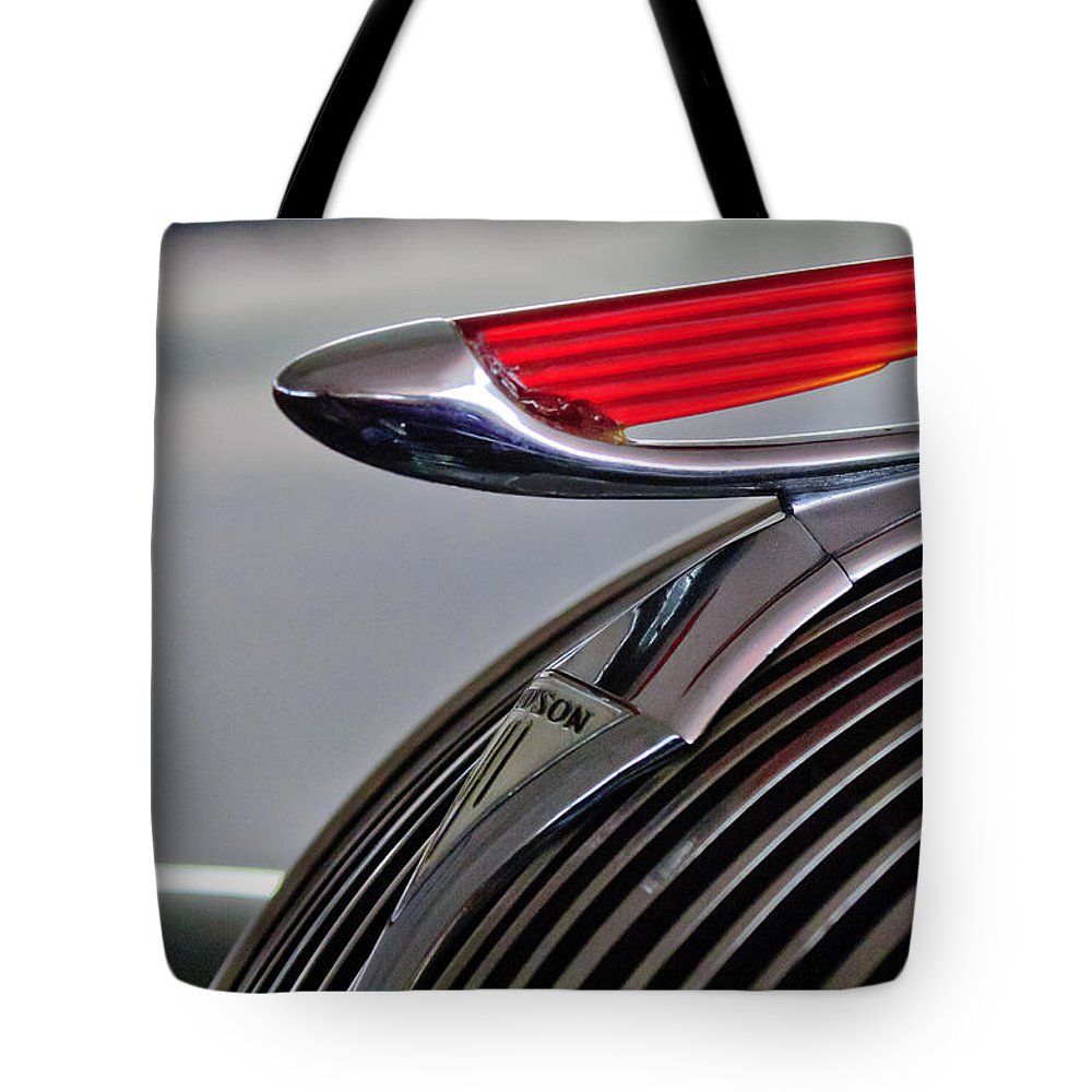 1937 Hudson Terraplane 4 Door Sedan Tote Bag featuring the photograph 1937 Hudson Terraplane Sedan Hood Ornament by Jill Reger