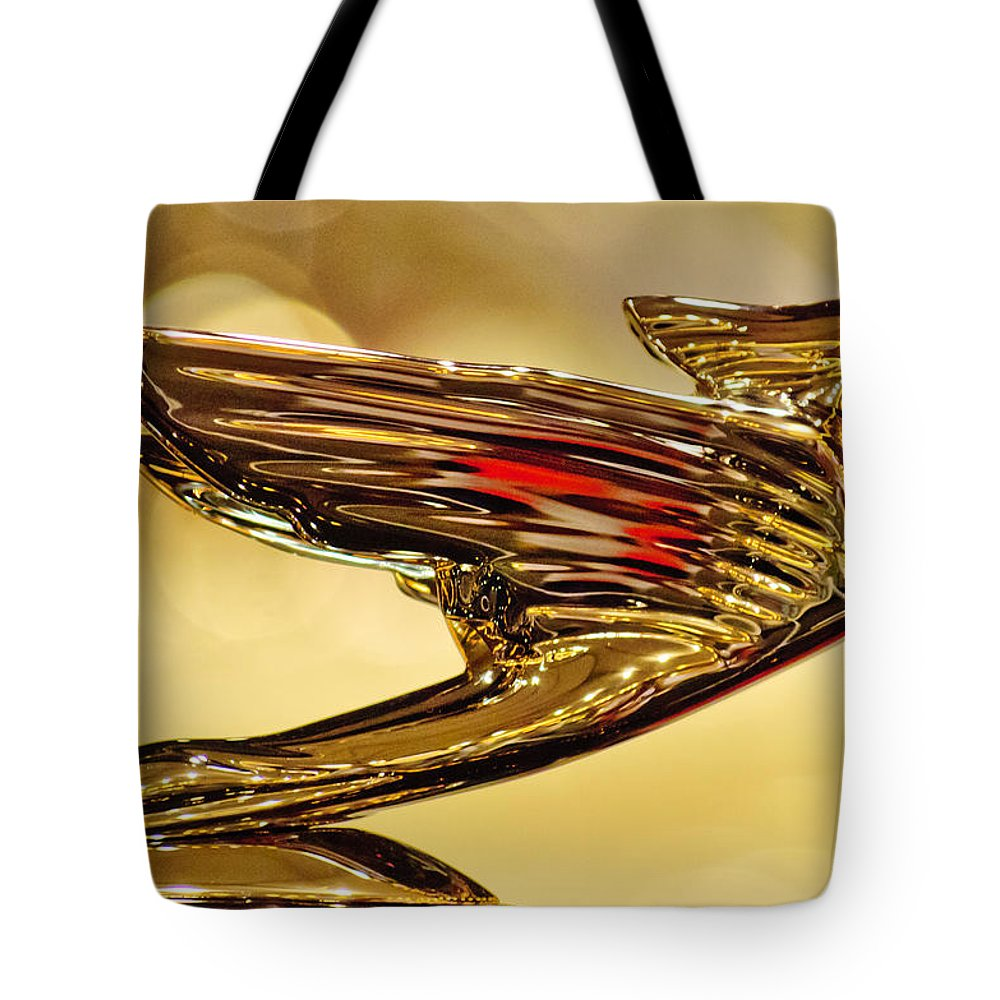 1938 Cadillac V-16 Convertible Sedan Tote Bag featuring the photograph 1938 Cadillac V-16 Sedan Hood Ornament 2 by Jill Reger