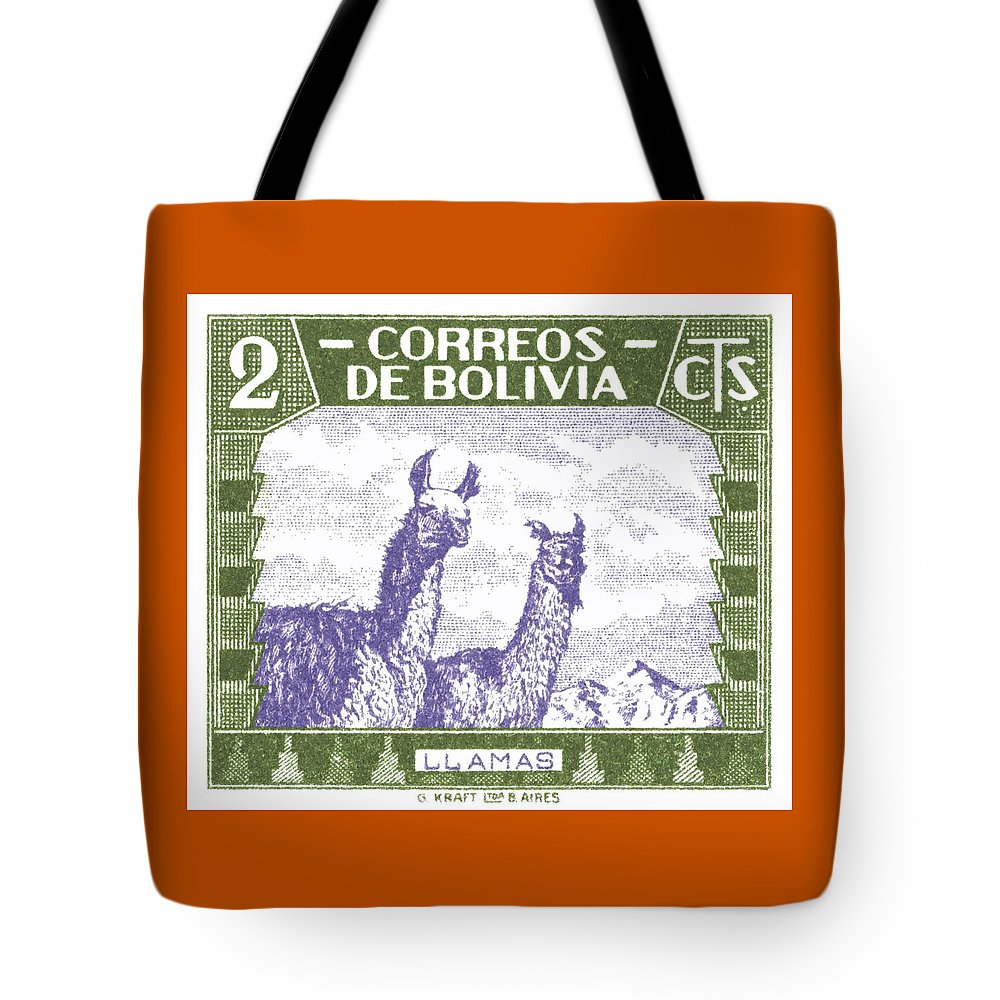 Bolivia Tote Bag featuring the digital art 1939 Bolivia Llamas Postage Stamp by Retro Graphics