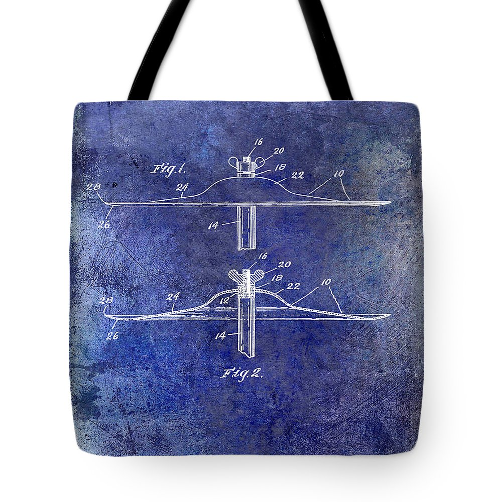 Drum Tote Bag featuring the photograph 1940 Cymbal Patent Blue by Jon Neidert