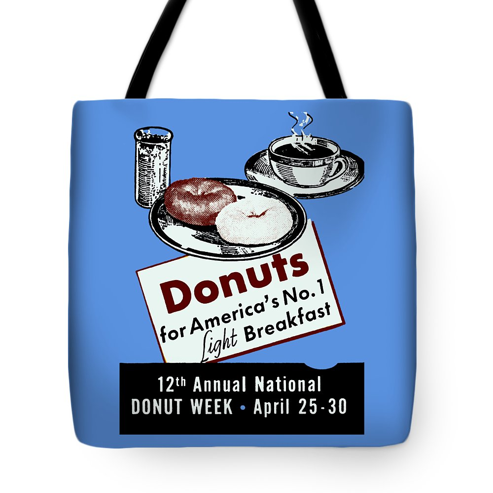 Vintage Tote Bag featuring the painting 1940 Donut Poster by Historic Image