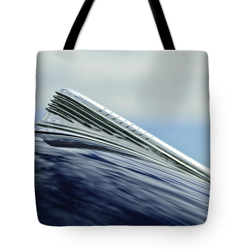 1941 Chevy Tote Bag featuring the photograph 1941 Chevrolet Hood Ornament 2 by Jill Reger