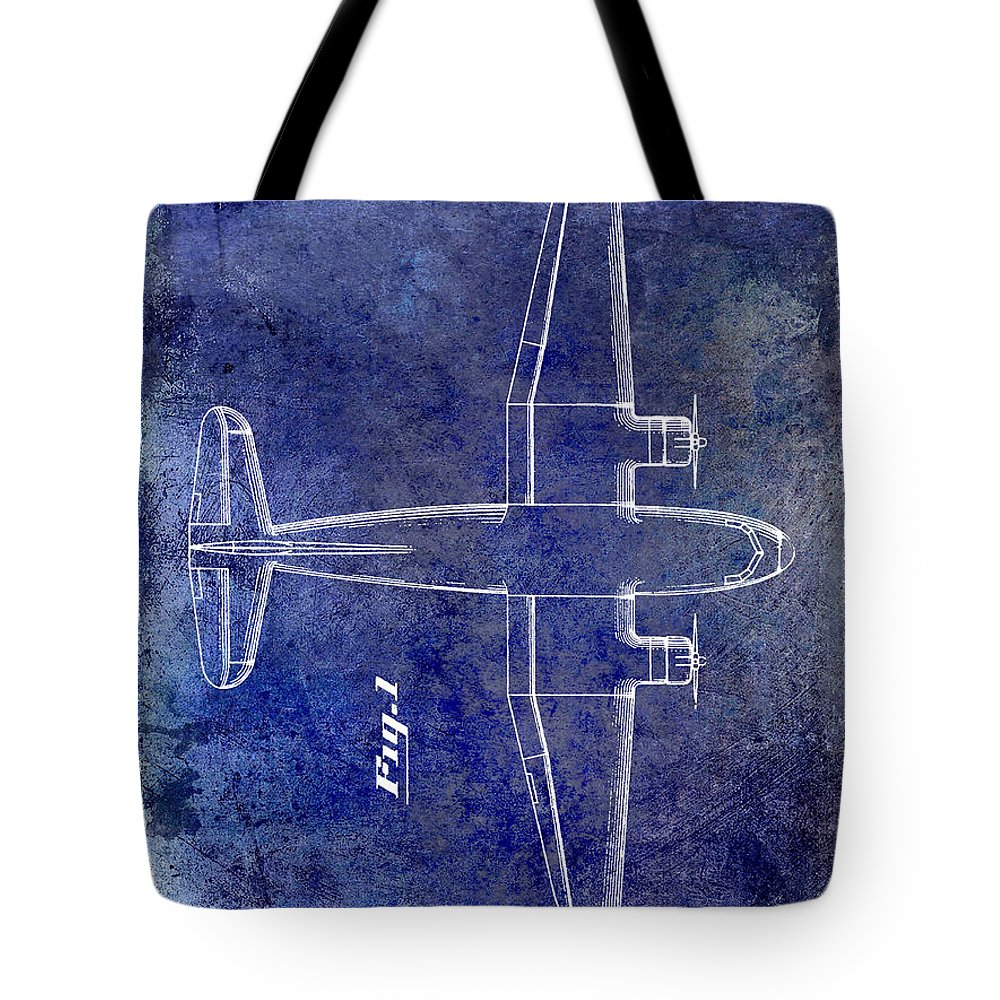 1955 Airplane Patent Tote Bag featuring the photograph 1945 Transport Airplane Patent Blue by Jon Neidert