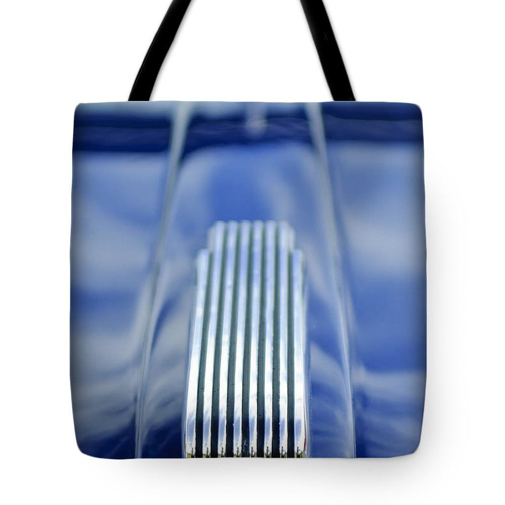 1946 Mercury Tote Bag featuring the photograph 1946 Mercury Hood Ornament by Jill Reger