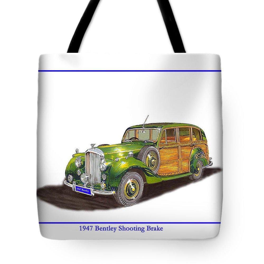 Shooting Brake Or Tote Bag featuring the drawing 1947 Bentley Shooting Brake by Jack Pumphrey