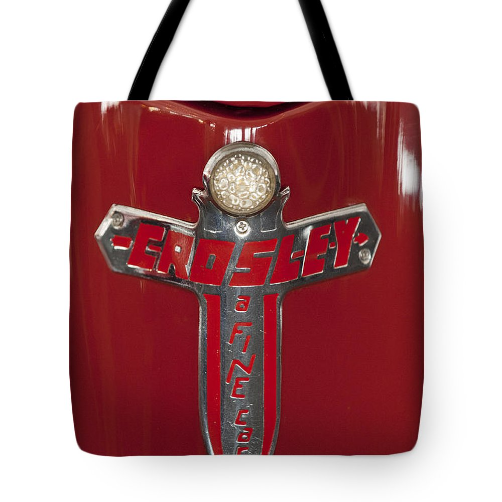 1948 Crosley Convertible Tote Bag featuring the photograph 1948 Crosley Convertible Emblem by Jill Reger