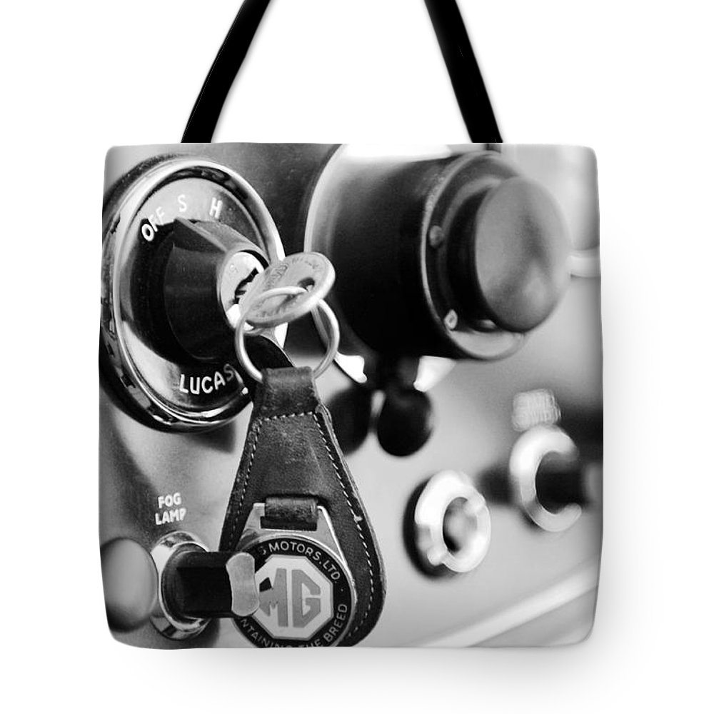Transportation Tote Bag featuring the photograph 1948 Mg Tc Key Ring Black And White by Jill Reger