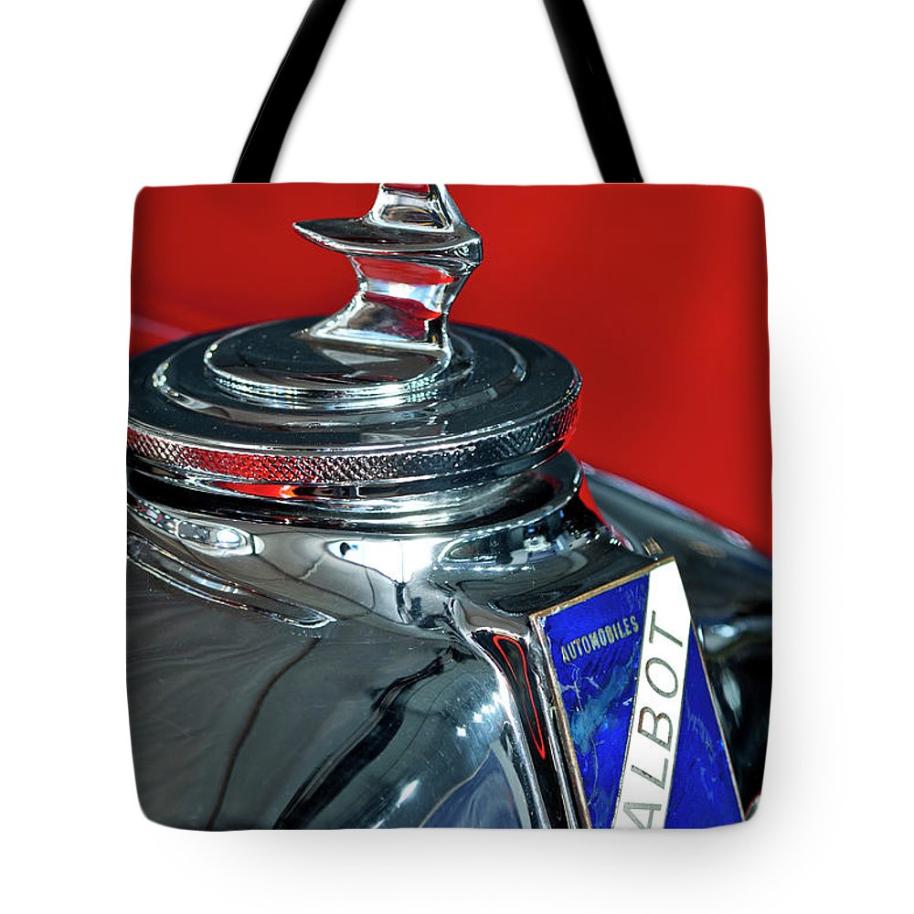 1948 Talbot-lago T26 Record Cabriolet Tote Bag featuring the photograph 1948 Talbot-lago T26 Record Cabriolet Hood Ornament by Jill Reger