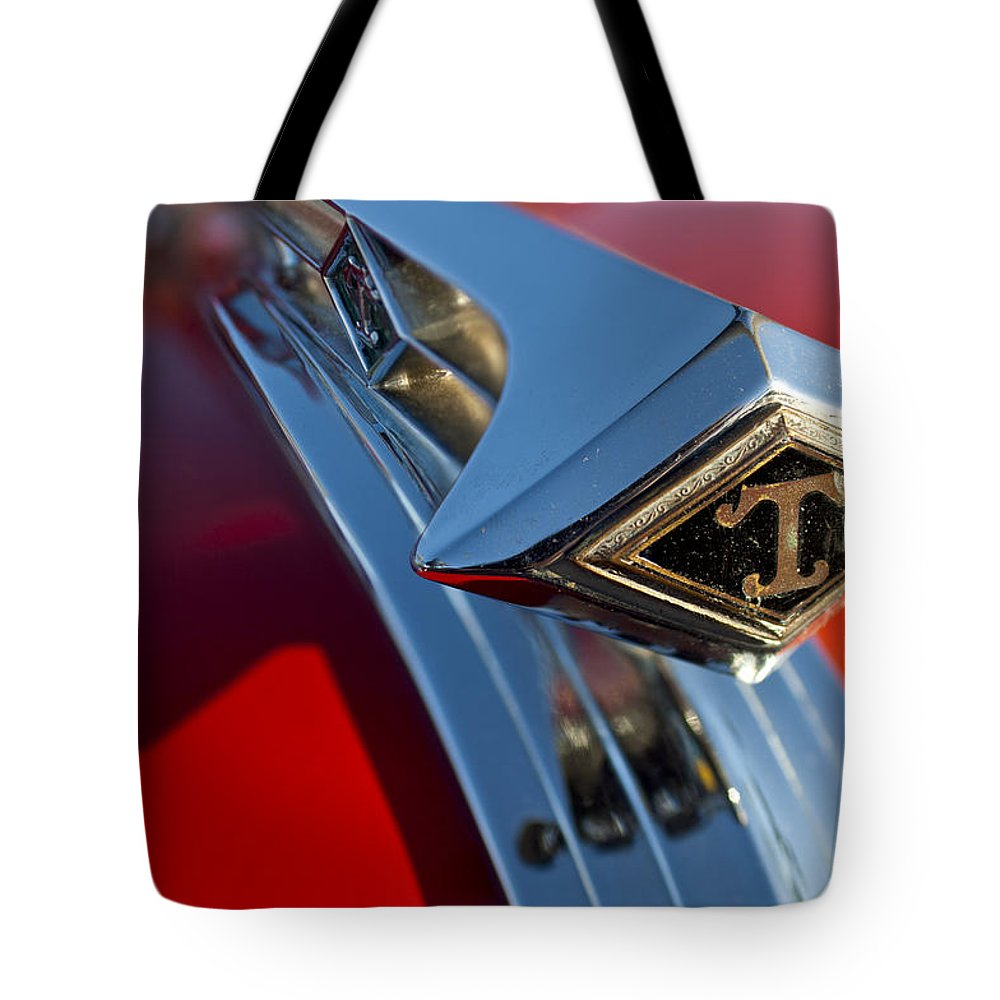 1949 Diamond T Tote Bag featuring the photograph 1949 Diamond T Truck Hood Ornament 2 by Jill Reger