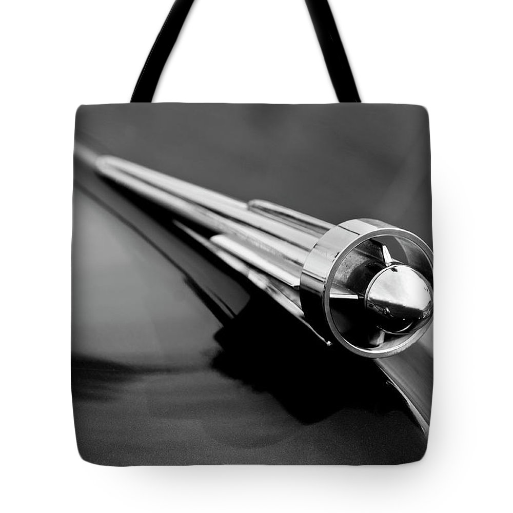 1949 Studebaker Tote Bag featuring the photograph 1949 Studebaker Champion Hood Ornament 3 by Jill Reger