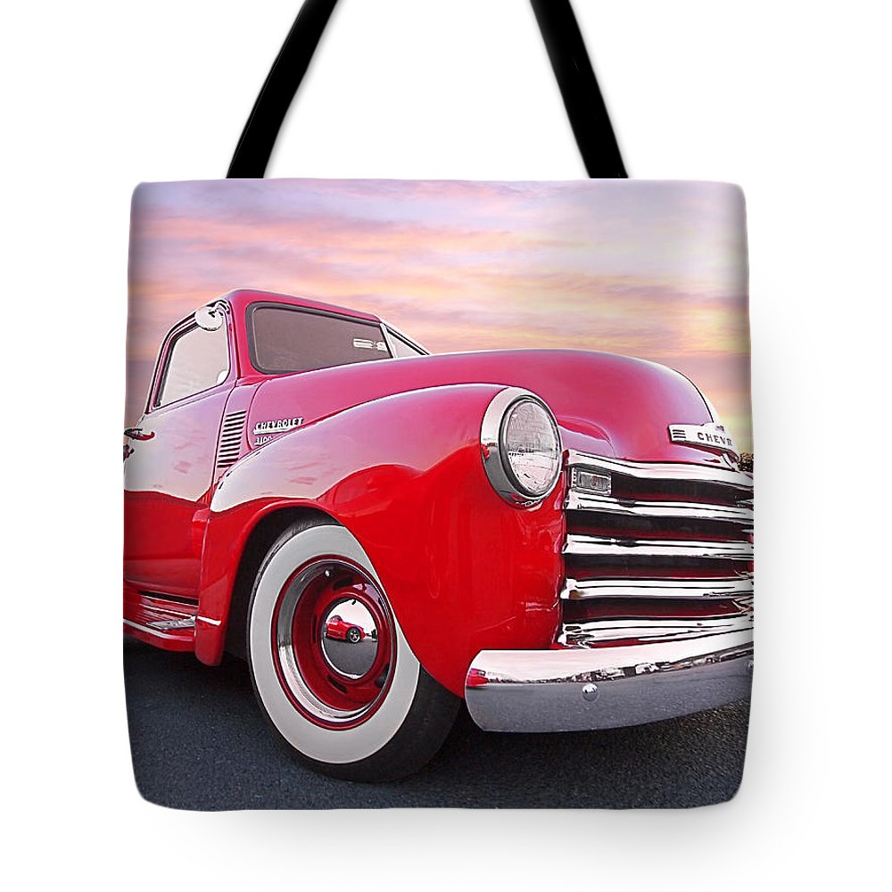Chevrolet Truck Tote Bag featuring the photograph 1950 Chevy Pick Up At Sunset by Gill Billington