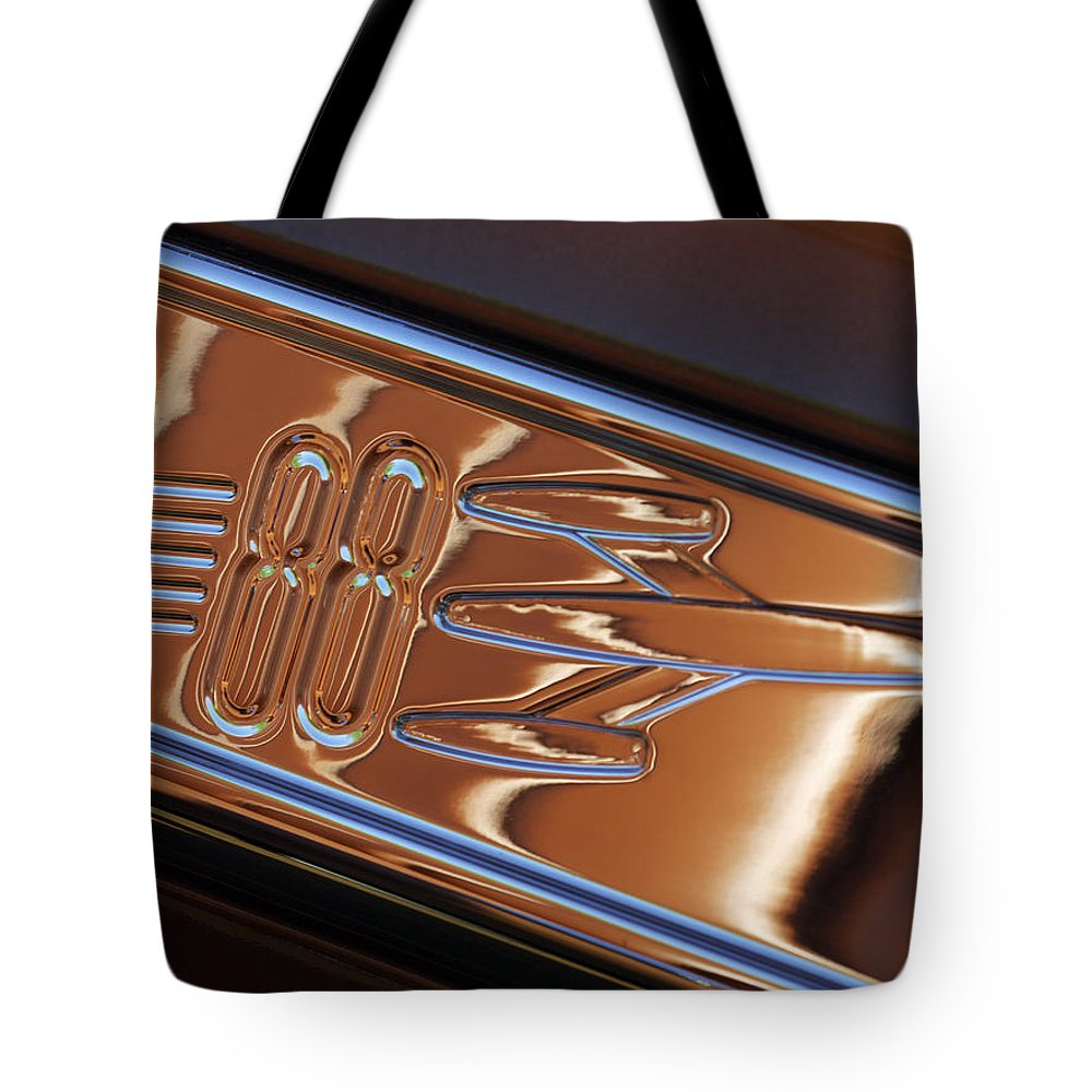 1950 Oldsmobile Rocket 88 Tote Bag featuring the photograph 1950 Oldsmobile Rocket 88 Emblem 2 by Jill Reger