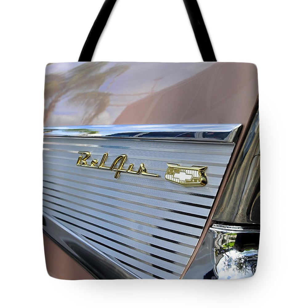 1957 Chevy Tote Bag featuring the photograph 1950s Fins by David Lee Thompson