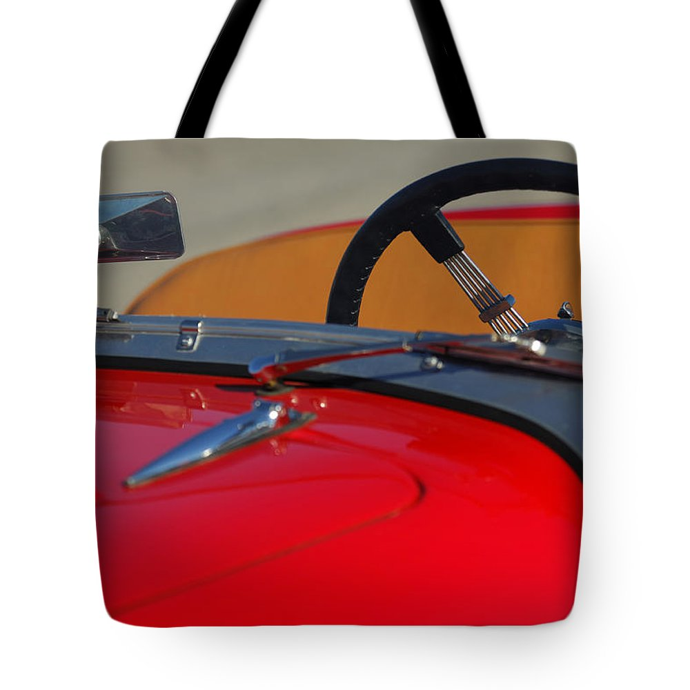 1951 Allard K2 Roadster Tote Bag featuring the photograph 1951 Allard K2 Roadster Steering Wheel by Jill Reger