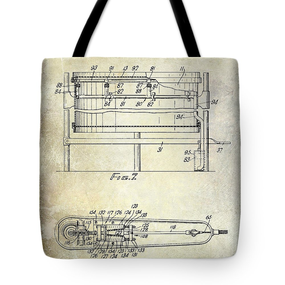 Drum Tote Bag featuring the photograph 1951 Drum Patent by Jon Neidert