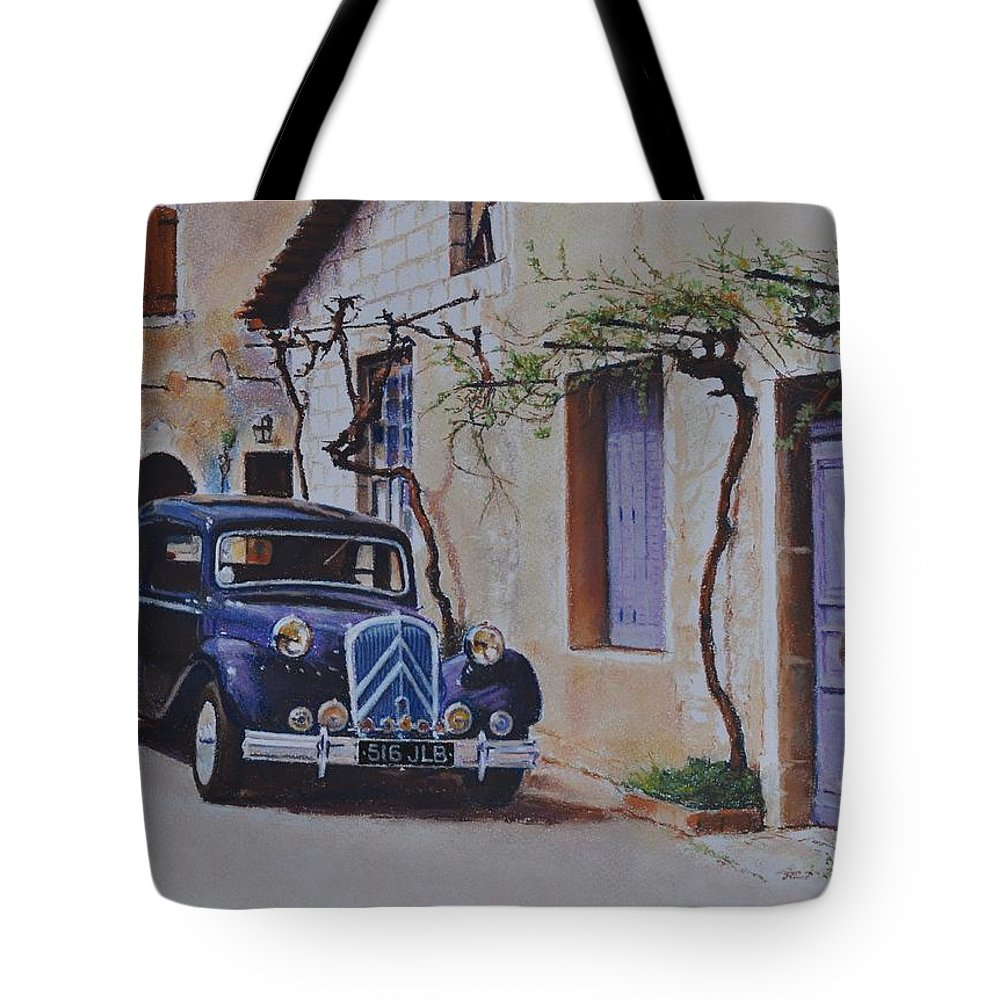 Classic Cars Tote Bag featuring the pastel 1951's Citroen by Iliyan Bozhanov