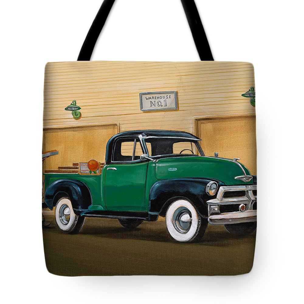 Nostaligic Tote Bag featuring the painting 1952 Ford F100 Pickup by Hank Wilhite