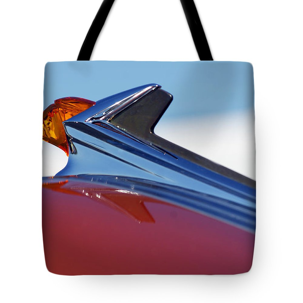 Car Tote Bag featuring the photograph 1952 Pontiac Tin Woodie Wagon Hood Ornament by Jill Reger