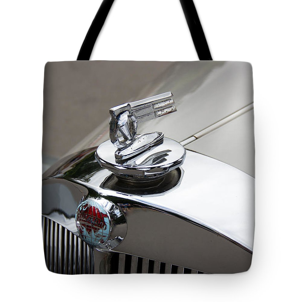 52 Tote Bag featuring the photograph 1952 Triumph Renown Limosine Radiator Cap by Robert Kinser
