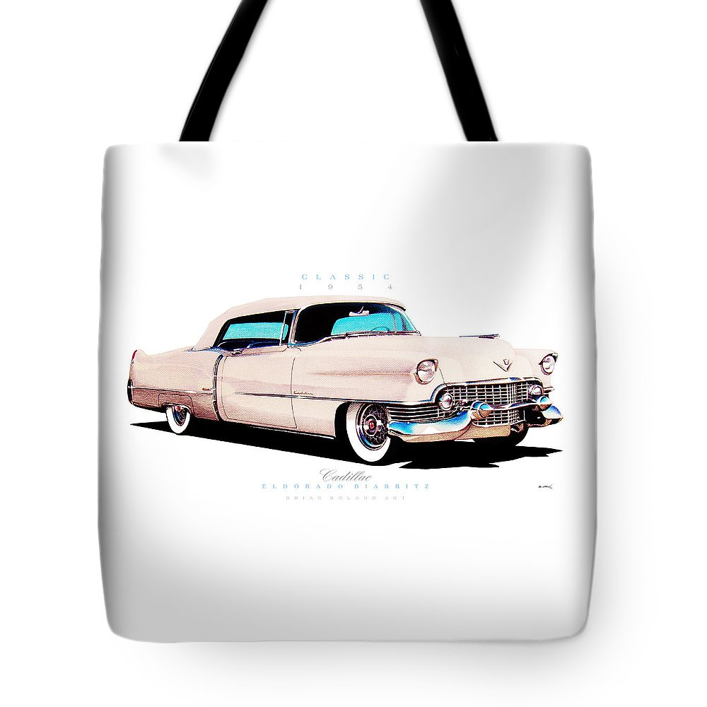 1954 Cadillac Eldorado Convertible Tote Bag For Sale By Brian Roland El Dorado Classic Cars Featuring The Drawing
