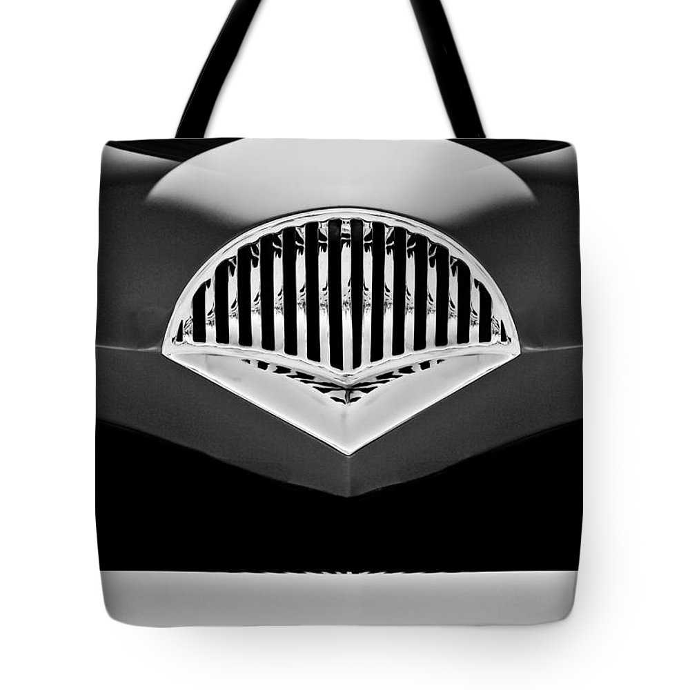 Transportation Tote Bag featuring the photograph 1954 Kaiser Darrin Grille Black And White by Jill Reger