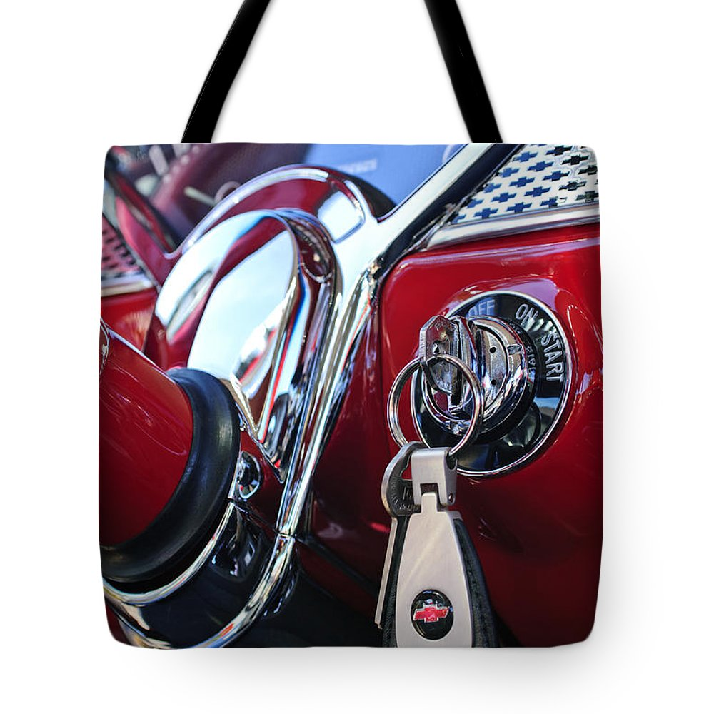 1955 Chevrolet 210 Tote Bag featuring the photograph 1955 Chevrolet 210 Key Ring by Jill Reger