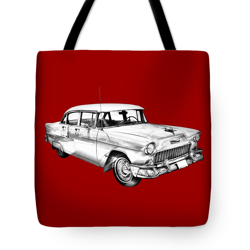 Car Tote Bag featuring the photograph 1955 Chevrolet Bel Air Illustration 1955 by Keith Webber Jr